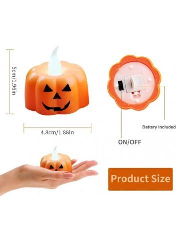 12PCS Candelitas de calabaza Velas Luces de té sin llama Velas LED con pilas Linternas naranjas para decoraciones de Halloween