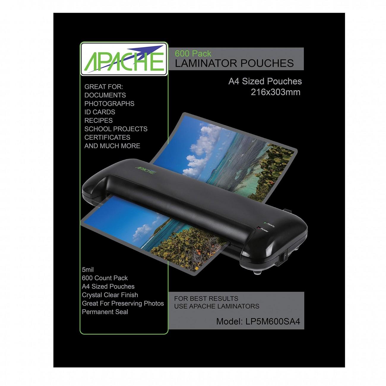 Apache Fundas para Plastificar, Formato A4 (125 Micras, Pack de