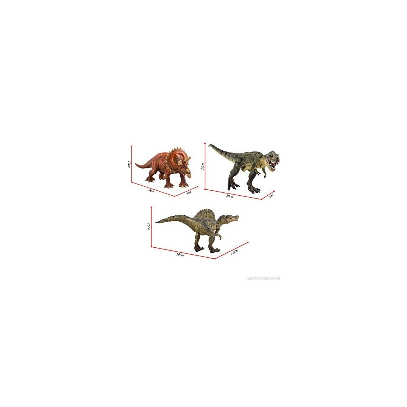deAO - Juego de 3 Figuras de Dinosaurio T-Rex Triceratops