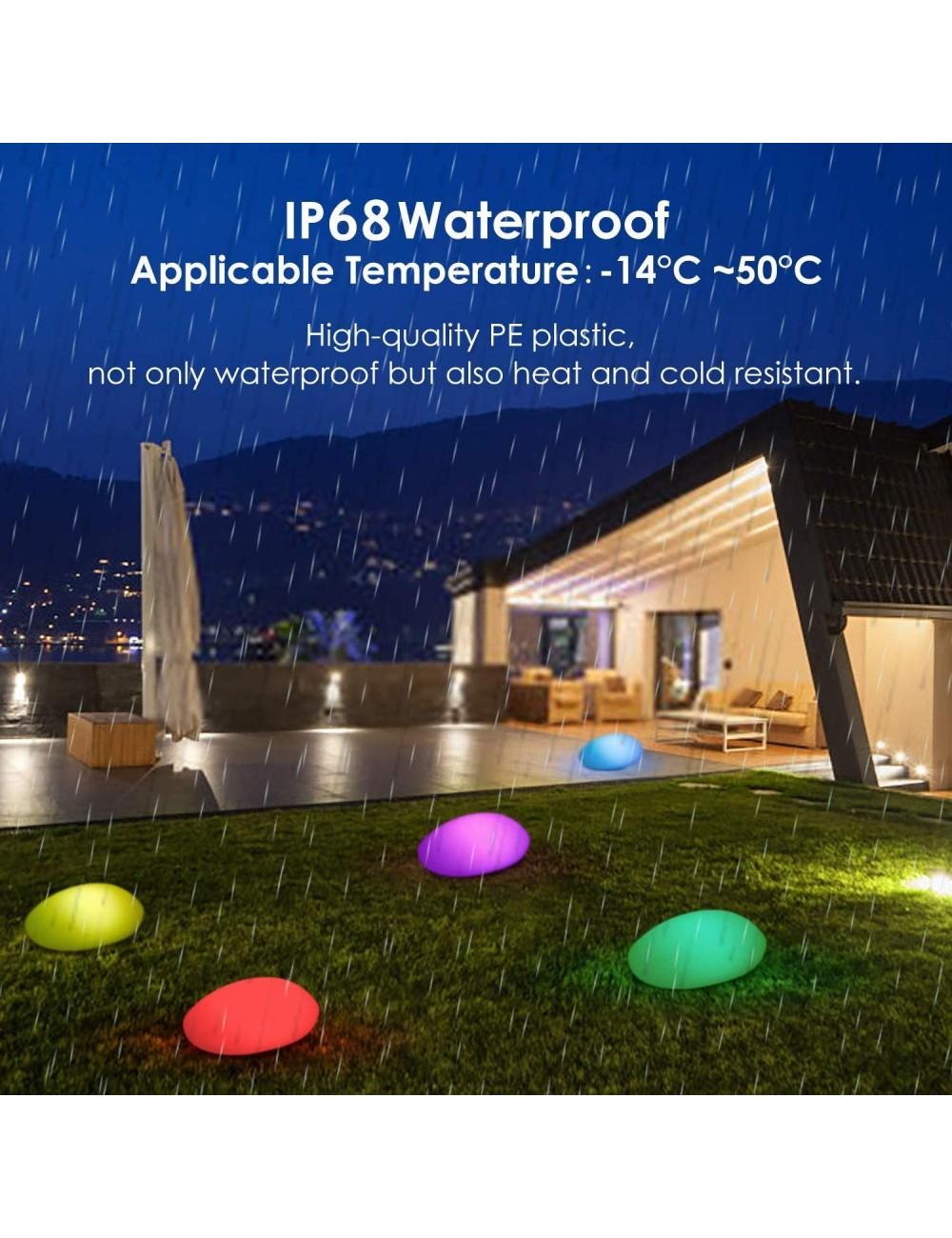 Patio Piscina IP68 Impermeable Luz Solar para C/ésped Iluminaci/ón Exterior LED de Piedra de 40cm L/ámpara Esfera con 8 Colores Ajustables Albrillo RGB Luz Solar de Jard/ín Carga por Solar y USB