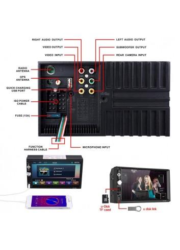Autoradio 2 DIN Reproductor Mp5 de Coche 7 Pulgadas 1080P FHD