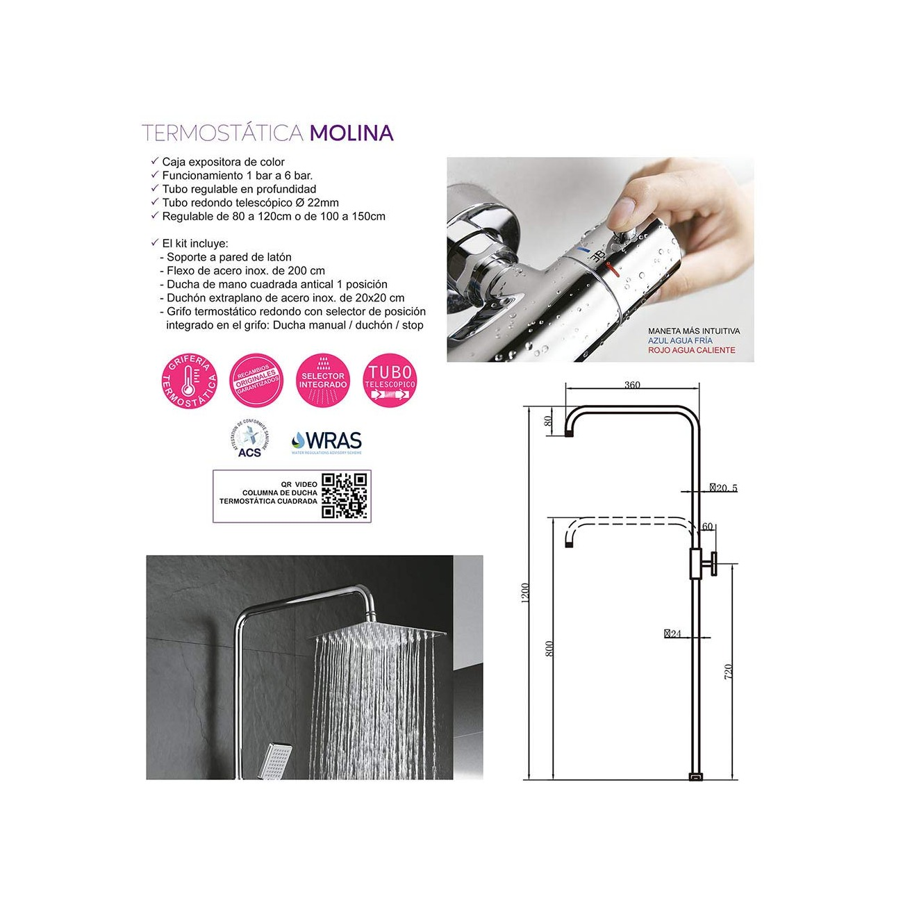 Kibath 402121 Columna grifería termostática con Tubo Extensible