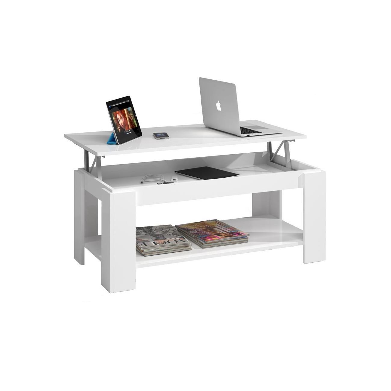 Habitdesign 001639BO - Mesa de centro elevable con revistero incorporado,  color Blanco , 102 x 50 x 43/54 cm